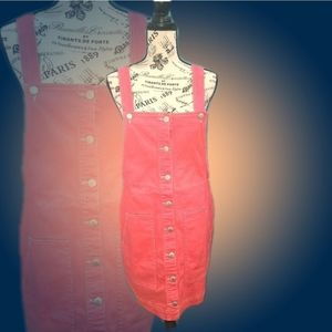 *NWOT Blue Spice Coral Mini Skirt Overalls